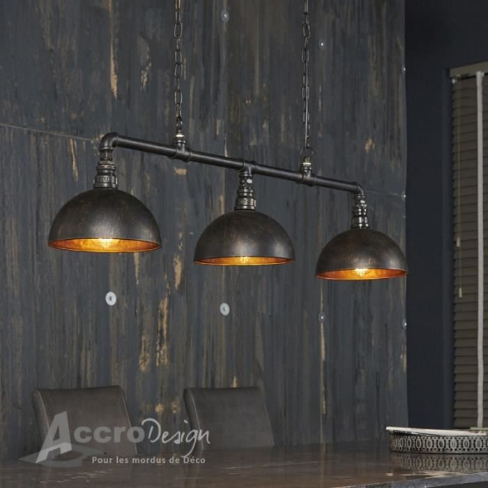 suspension style industriel tuyau noir 3 lampes arto noir achat vente suspension style. Black Bedroom Furniture Sets. Home Design Ideas