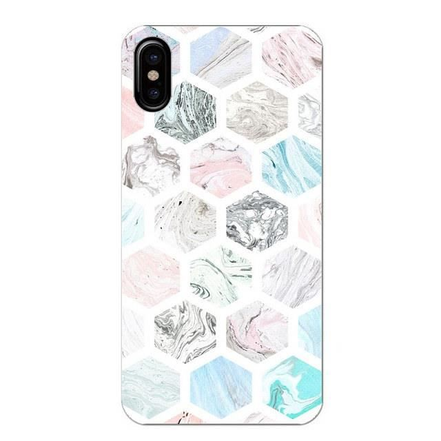 Coque Iphone XR Marbre pastel geometrique rose bla