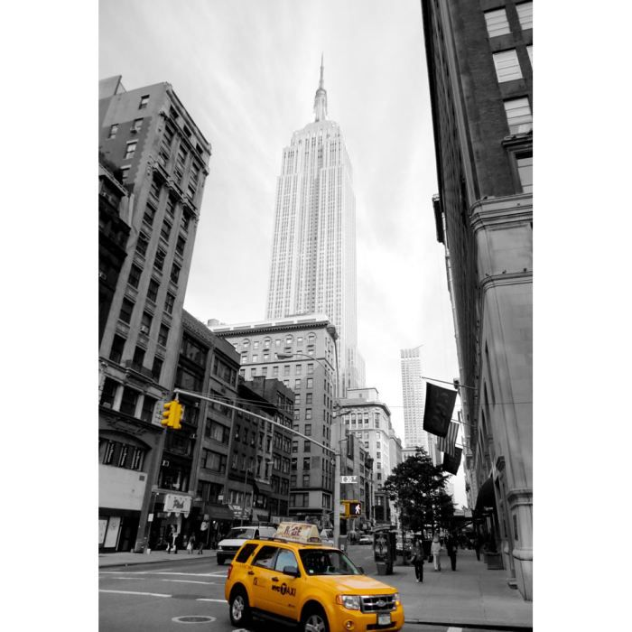 tableau new york empire state building taxi jaune achat vente tableau toile toile cdiscount. Black Bedroom Furniture Sets. Home Design Ideas