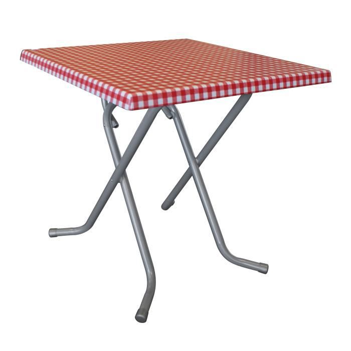 Table pliante 2 personnes 70 x 70 x 71 cm d cor vichy for Table 5 personnes