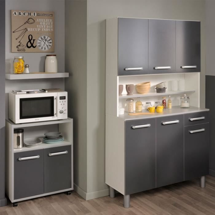 buffet desserte de cuisine gris brillant timy achat. Black Bedroom Furniture Sets. Home Design Ideas