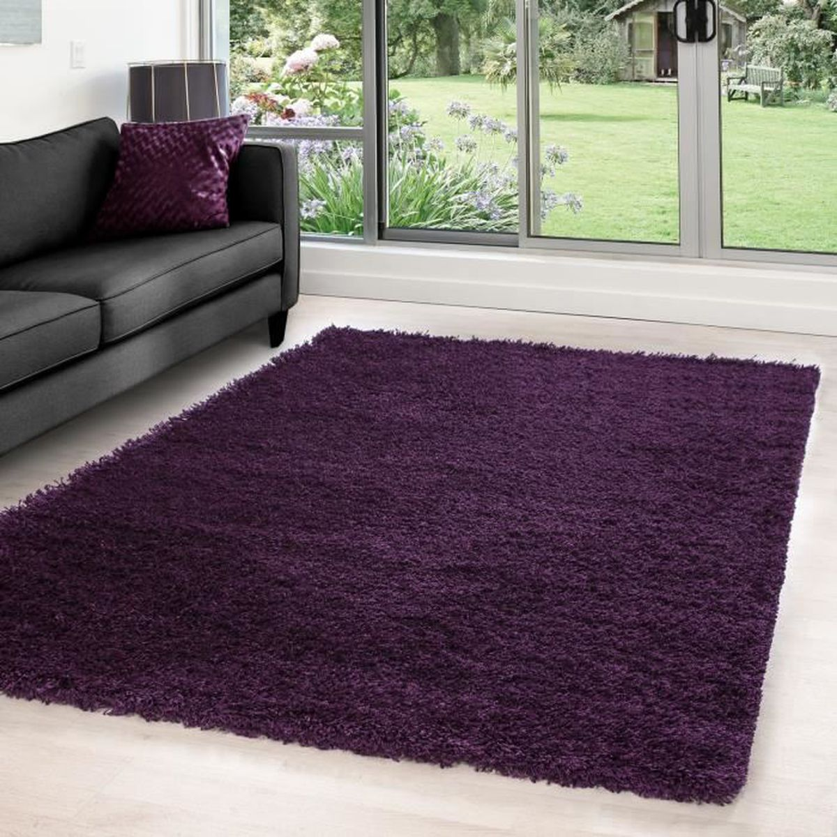 hirsute tapis moquette du salon shaggy avec une hauteur de 5 cm pile monochrome 4444 pourpre. Black Bedroom Furniture Sets. Home Design Ideas