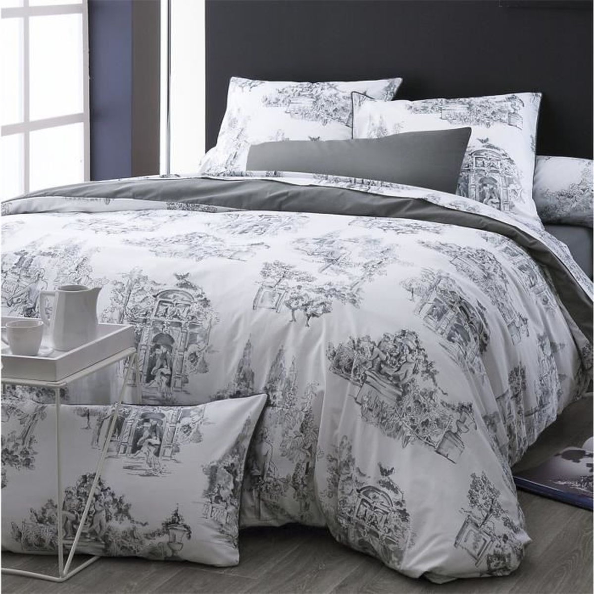 housse de couette toile de jouy gris monceau 260 x 240 cm anthracite blanc achat vente. Black Bedroom Furniture Sets. Home Design Ideas