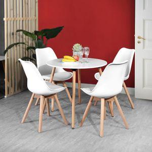 TABLE DE CUISINE  Table à Manger Ronde - 4 Personnes - MDF - Structu