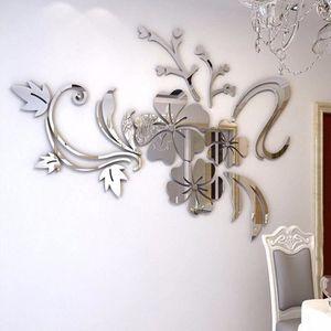PAPIER PEINT Papier peint-3D Miroir Floral Art Amovible Wall St