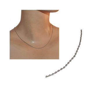 CHAINE DE COU SEULE Collier chaîne rhodium argenté maille forçat 44cm