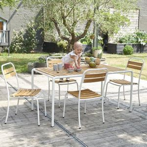 Salon de jardin en bois d\'acacia FSC et métal 4 personnes ...