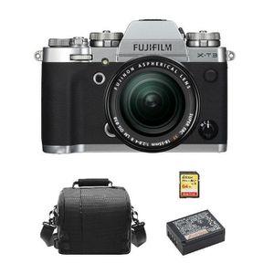 APPAREIL PHOTO RÉFLEX FUJI X-T3 Silver KIT XF 18-55mm F2.8-4R Black + 64