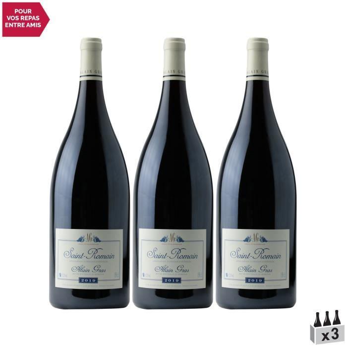Saint-Romain MAGNUM Rouge 2019 - Lot de 3x150cl - Domaine Alain Gras - Vin AOC Rouge de Bourgogne - Cépage Pinot Noir