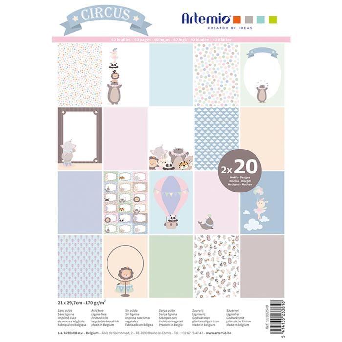 Bloc de 40 feuilles de papier scrapbooking A4 'Cirque' d'Artemio