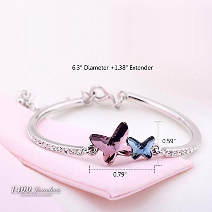 Butterfly Lovers Bracelet Femme Fabriqué avec du Cristal SWAROVSKI Elements Bracelet papillon ,Bleu, Longueur6.3 -+Rallonge 1.38 -