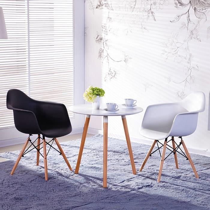 Lot de 6 Chaises Scandinaves Fauteuils de Salle à Manger moderne Eiffel Sièges en plastique 51*62*82CM- Noir
