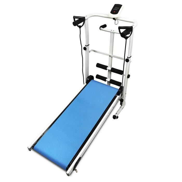 Tapis de course pliable à puissance mécanique bleu avec ceinture torsadée, cordon de serrage, écran LED