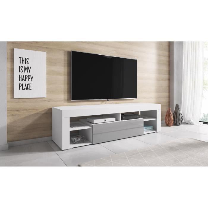 TV Meuble HI-FI Armoire Titan 140 cm Corps Blanc Mat / Avant Gris Brillant