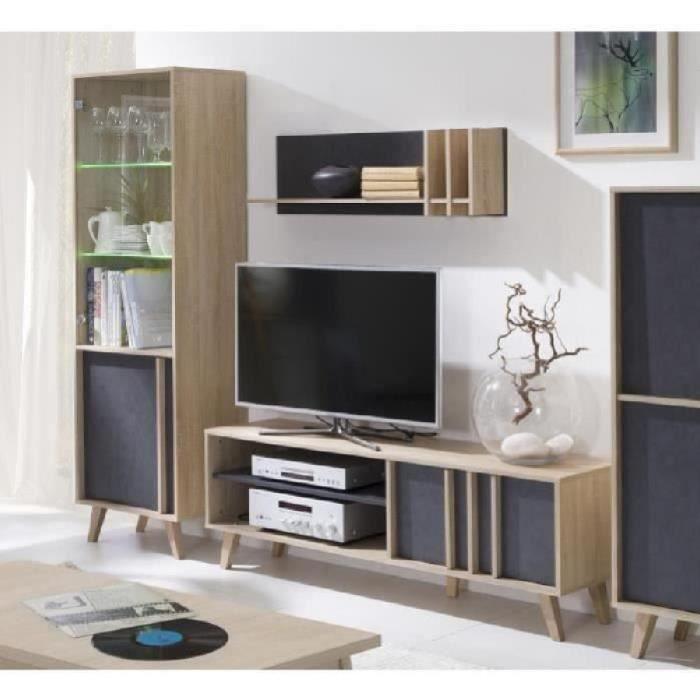 PRICE FACTORY - Ensemble design pour votre salon MALMO. Bibliothèque petit modèle + Meuble tv + Etagère. Meuble type scandinave