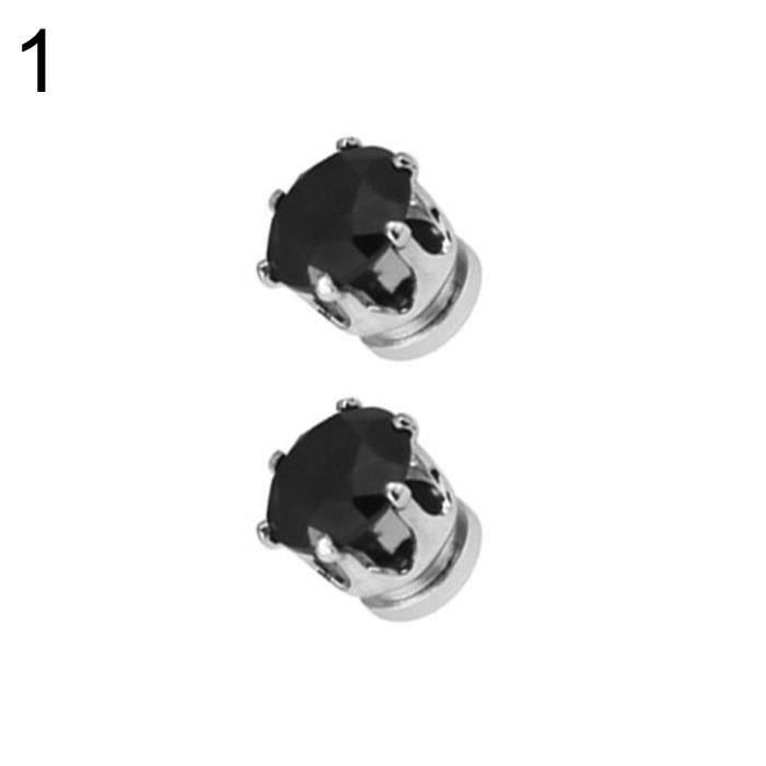 XY 1 Paire Hommes Femmes Chaude Populaire Clip No Piercing Magnet Boucles d'Oreilles Bijoux Partie Noir - XYBDH824B02513