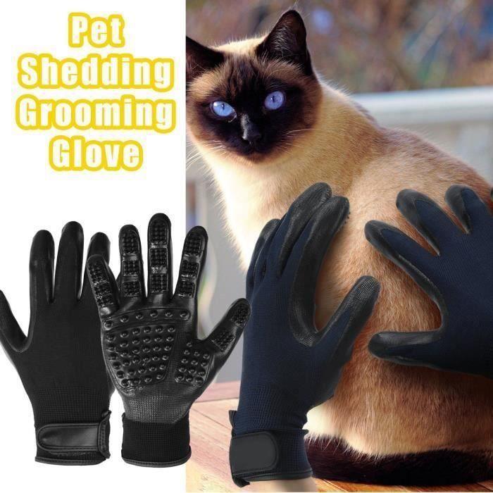 Gants Brossage Toilettage Massage Poils Cheveux Épilateur Pour Chien Chat Animal SA74339