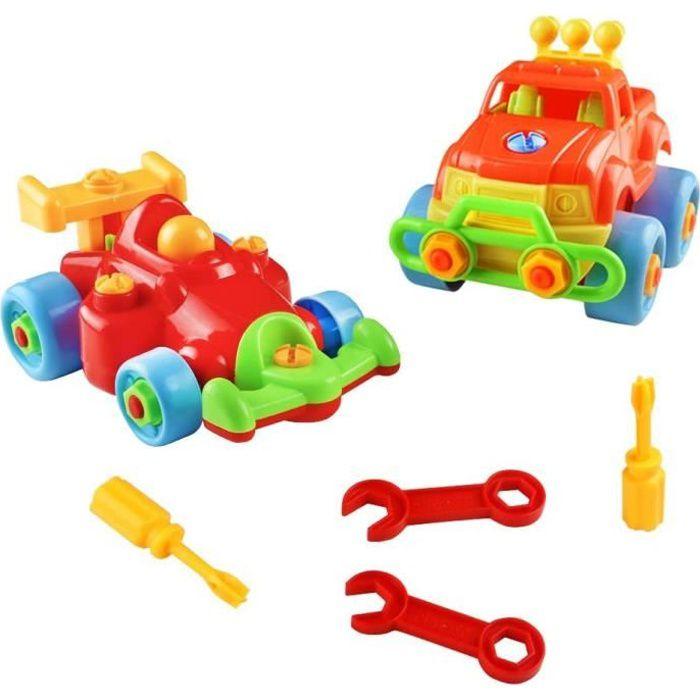2 Pcs Vehicule Construction Jeu Assemblage Enfant Jouet Voiture Jeu Construction Jeep pour Cadeau Garcon Fille 3 Ans 4 Ans 5 Ans alé