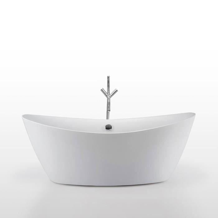 Baignoire ilôt 180 x 80 cm mod. Beverly + Robinet Acrylique Moderne Design Nouveau
