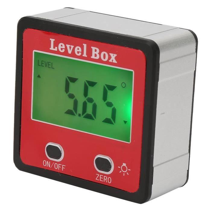 HURRISE inclinomètre numérique 1.4 `` Mini LCD 4x90 degrés Angle Gauge Finder Digital Rapporteur Inclinomètre Niveau Boîte