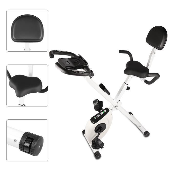 YEEZEE Vélo d'Appartement Pliable,écran LCD suspensions support tablette,avec 8 niveaux de résistance,Noir et blanc