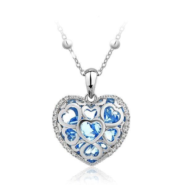 Pendentif Coeur Bleu en Cristal de Swarovski Elements et Plaqué Rhodium