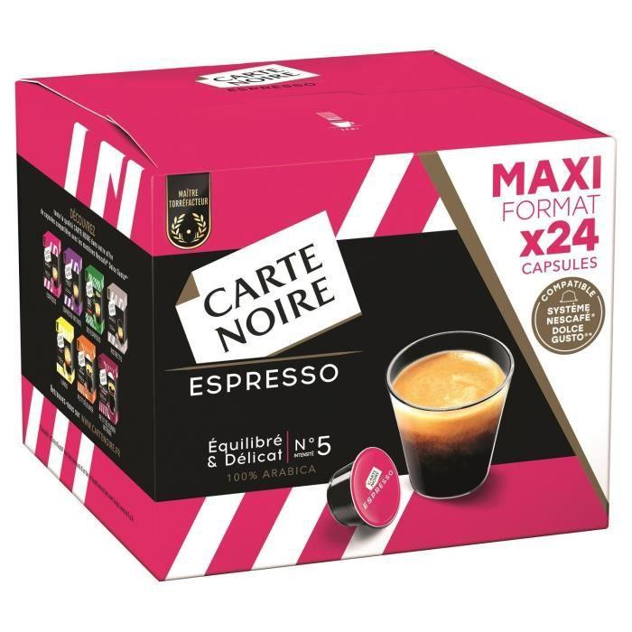 LOT DE 3 - CARTE NOIRE Café capsules Espresso N°5 Compatible DOLCE GUSTO - Boite de 24 capsules - 192G