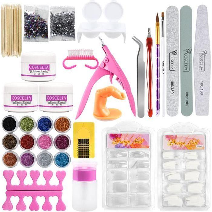 Coscelia Kit Manucure Poudre Acrylique pour Ongles Décoration Nail Art Tips Faux Ongles Paillettes Décor Poudre Limes Strass Set