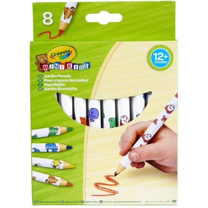 8 -maxi- crayons de couleur - loisir créatif - mini kids - à partir de 1 ans - jeu de dessin et coloriage