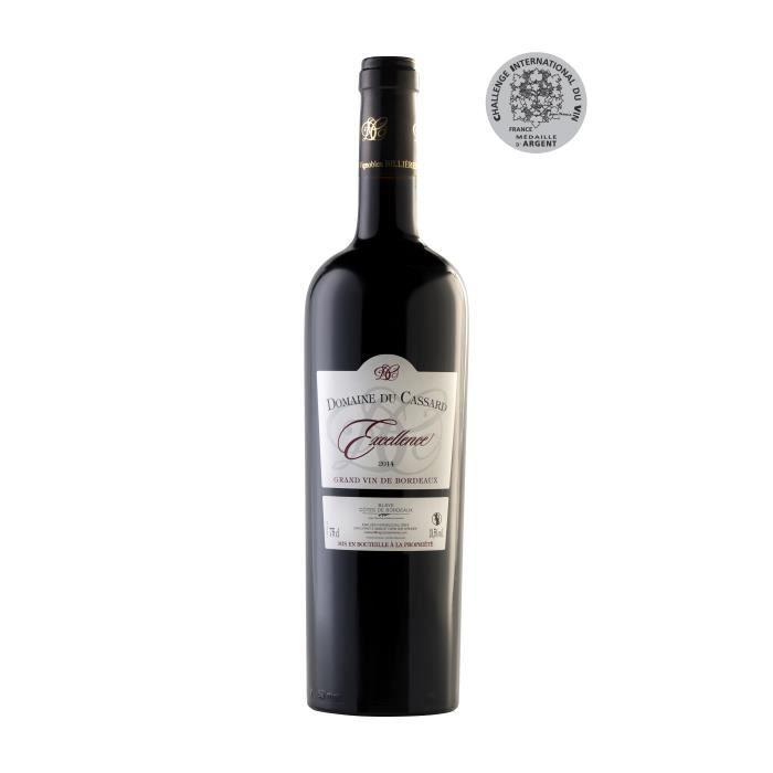 Vin Rouge Blaye Côtes de Bordeaux Domaine du Cassard - Cuvée Excellence - Médaille d'Argent au challenge international du vin