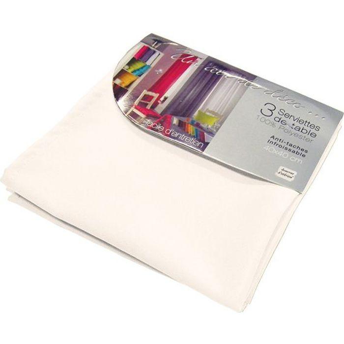 Lot de 3 serviettes de table ESSENTIEL blanc