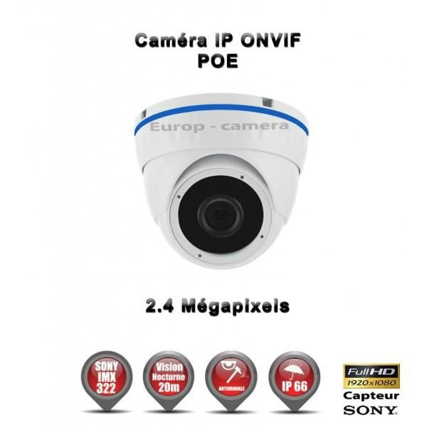 DOME IP ANTI-VANDAL IR 20M ONVIF POE SONY 1080P 2.4 MP - REF : EC-D2MP20 - CAMÉR