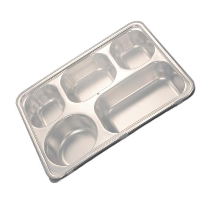 1pc plateau divisé en acier inoxydable rectangulaire 5 sections de service alimentaire coffret biberons repas bebe