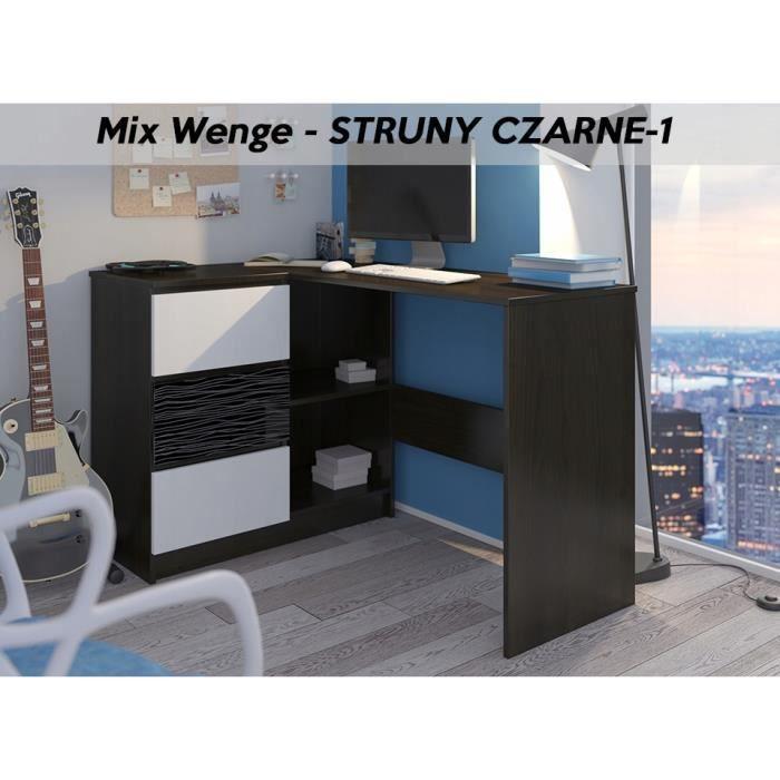 KIAN W - Bureau d'angle rangements + 3 tiroirs - 112x87x76- Table d'ordinateur forme de L - Wengé Noir Blanc