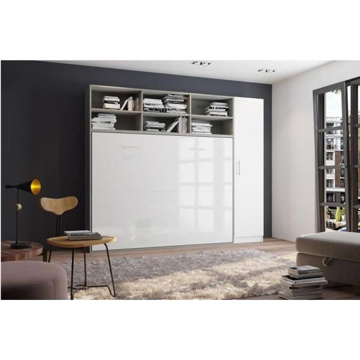 Composition armoire lit horizontale STRADA-V2 gris - blanc mat façade armoire-lit blanc brillant 1 colonne 140*200 cm bi color MDF