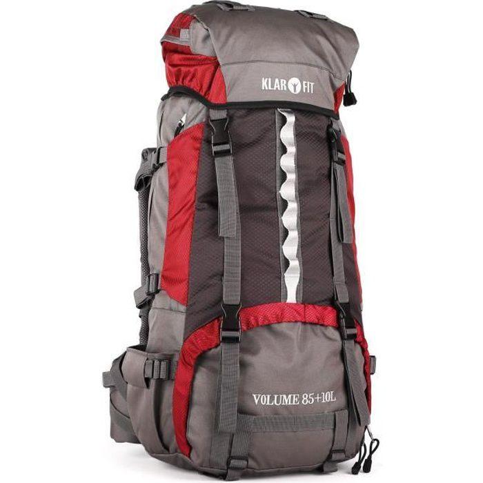 Klarfit Heyerdahl - Sac à dos trekking/randonnée/camping grande contenance housse imperméable (70L, design Cool Air, support baton)