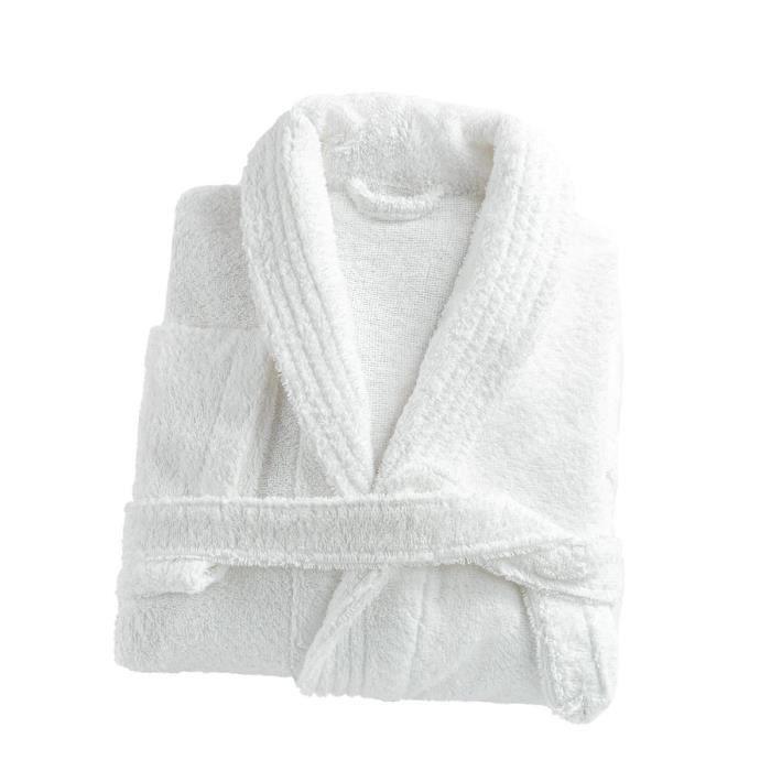 LINANDELLE - Peignoir mixte col chale coton 57 fils éponge CONFORT - Blanc - Mixte Adultes - L