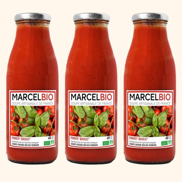 Marcel Bio - Soupe Froide Tomate Basilic Bio 48cl - Pack de 3