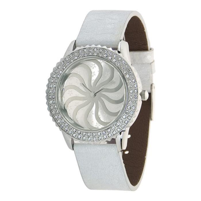 Moog Paris Vertigo Women's Watch with Silver Dial, White Genuine Leather Strap & Swarovski Elements - M44962-101