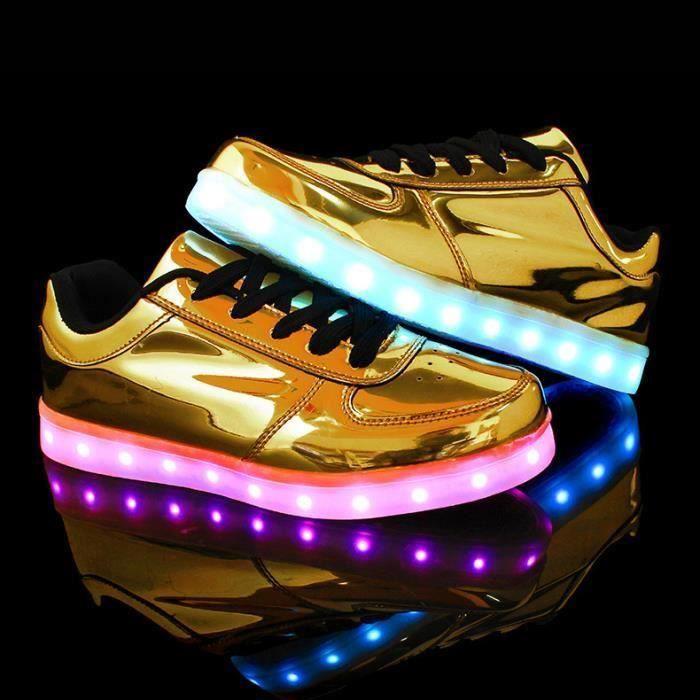 Jaune 7 multicolore de recharge USB LED chaussures l g res jusqu' Glow Sneakers