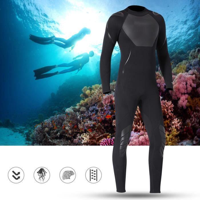 3mm hommes une pièce néoprène en nylon manches longues combinaison de natation maillot de plongée (Noir homme M)-CHE