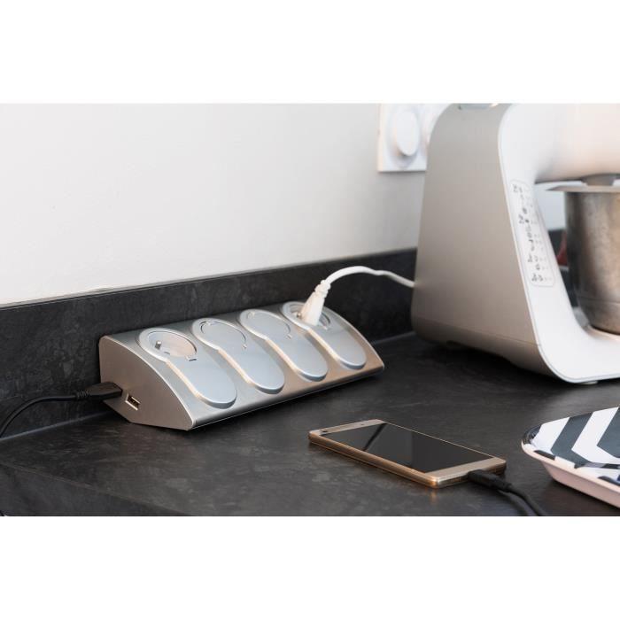 OTIO Bloc multiprise cuisine à câbler 4 prises 16A 2P+T avec clapets antipoussière & parafoudre