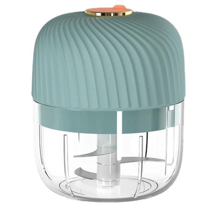 Mini Hachoir à Ail éLectrique Petit Robot Culinaire Sans Fil Ail Gingembre Oignon Moulin à éPices Hachoir MéLangeur 250 Ml, Bleu