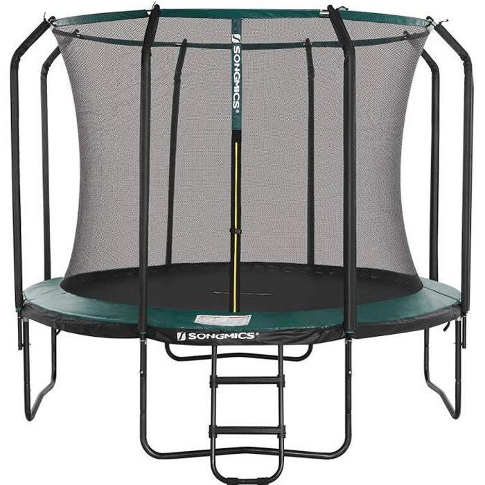 SONGMICS Trampoline Ø 305 cm, avec filet de sécurité intérieur, échelle, poteaux recouvert de mousse, Noir et Vert Foncé STR103C01