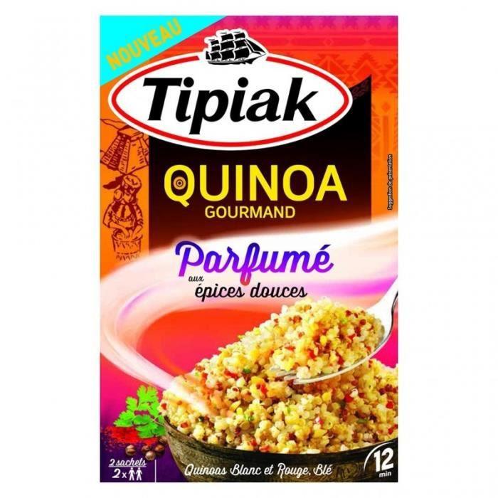 Tipiak Quinoa Gourmand Parfumé aux Épices Douces Quinoa Blanc et Rouge Blé par 2 Sachet 240g (lot de
