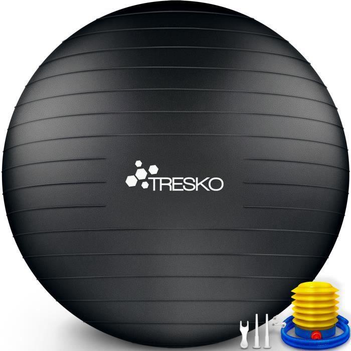 TRESKO Ballon Fitness Yoga Balle d'Exercice Antidérapant Balle Gymnastique avec Pompe 300 kg - avec pompe à air - Noir - 65cm