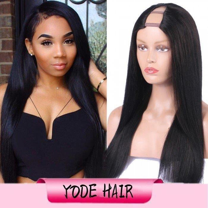 Perruque U partie droite couleur naturelle partie moyenne cheveux humains brésiliens Upart perruques 14-