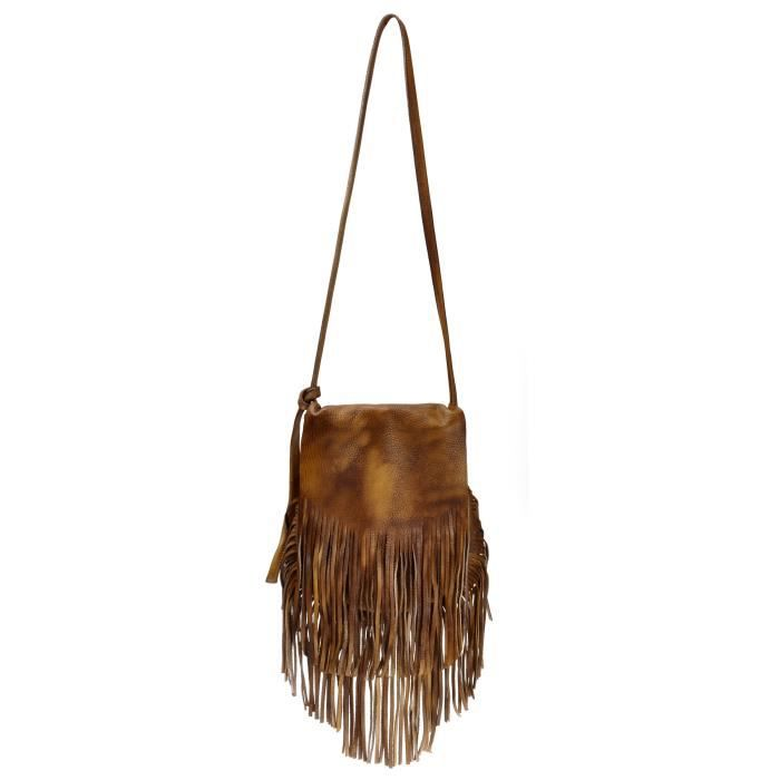 Bohême Sac en cuir dip-dye Fringe Pochette Tribal Tassel Cross Body Bag, Brown D5CQI
