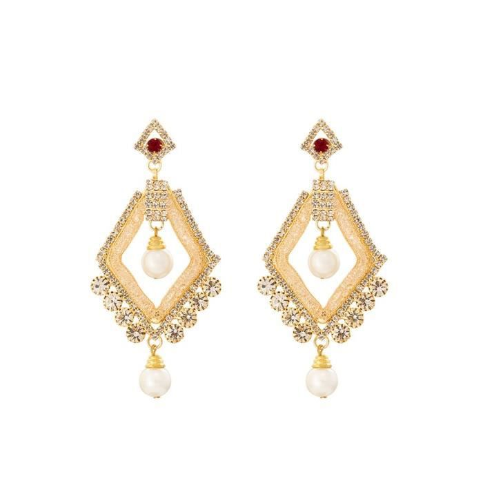 Womens American Diamond Earings With Pearl Drop ForCGWFB