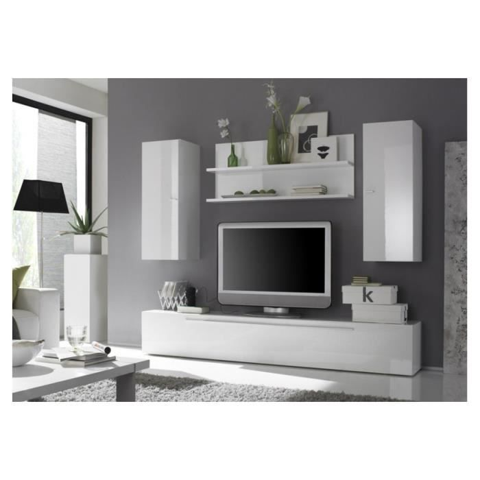Ensemble meuble tv mural laqu glossy g achat vente for Ensemble salon blanc